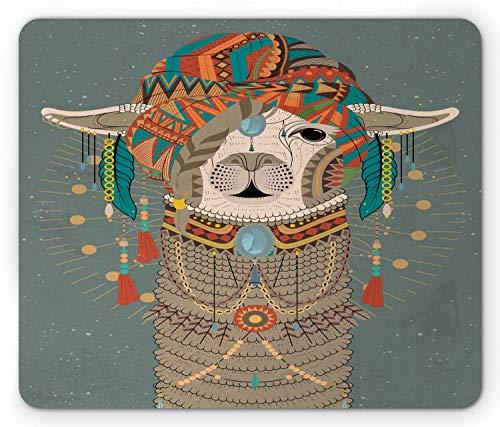 Alfombrilla De Ratón Alfombrilla Antideslizante Sombreros con Llama con Accesorios Pendientes Collar Animal Abstracto Alfombrilla De Goma Antideslizante Mouse Pad
