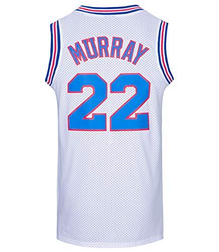 JOLISPORT Bill Murray #22 Space Movie Jersey Mens Basketball Jersey S-XXXL (White, Medium)
