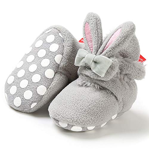 Fnnetiana Infant Baby Plush Slippers Indoor Bedroom Boots Winter Warm Toddler Kids Crib Shoes House Shoes (6-12 Months, Pink)