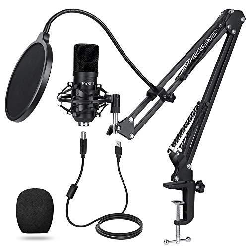 MANLI USB Mikrofon Kondensator USB Condenser Microphone Kit, Profi Podcast Mikrofonsets mit Mikrofonständer Stoßdämpferhalter Windschutzscheibe Popfilter für Rundfunk Aufnahme Youtube Podcasts Gaming