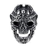 HIJONES Ancien Dominateur Gothique Motard Punk Crâne Démon Bague pour Homme en Acier Inoxydable Taille 60