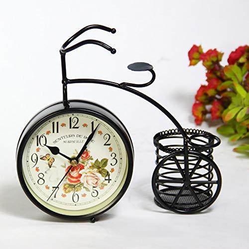 Vintage Bike Shape Table Reloj Non-Ticking Silent Retro Decorativo Bike Clock Adornos para Regalos De Decoración del Hogar