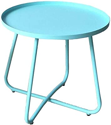 Living Room Side Table Coffee Table Deco Table Tray Table Metal Steel,17.7 * 17.7 Inches (Color : Blue)