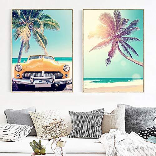 Impresiones en lienzo Seaside Beach Coconut Tree Estrella de mar Tabla de surf Pintura de arte de pared Carteles e impresiones nórdicos Pintura de pared decorativa Aniversario Regalos de cumpleaños