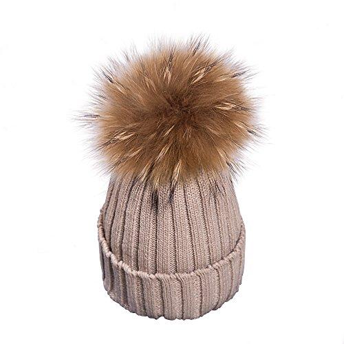 Yidarton Frauen Mädchen Strickmütze Pelzmütze Große Pelz Bommel Pom Pom Beanie Hüte Winter (Khaki)