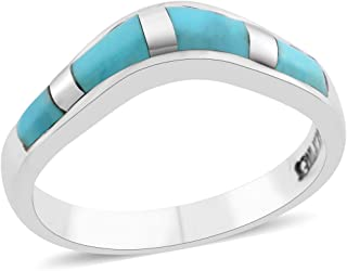 925 Sterling Silver Kingsman Turquoise Southwest Jewelry Statement Band Ring for Women Jewelry