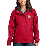 Cherrybrook Dog Breed Embroidered Ladies Rain Jackets - XXX-Large - Radish and Steel Gray - Cairn Terrier