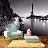 Djskhf パリタワーシンプルな黒と白の壁紙の壁3D壁紙テレビ背景絵画壁画を飾る 200X140Cm