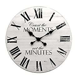 GoodTime 24 Inch Noiseless Large Rustic Wooden Wall Clock – Oversize Farmhouse Roman Numerals Quartz Silent Clock - Big Wooden Wall Clocks for Indoor, Living Room, Bedroom, Kitchen, Dining Room Decor