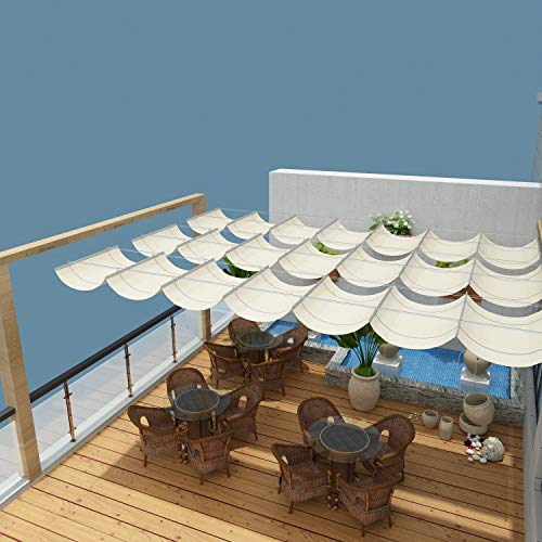 Coarbor Upgraded Retractable Replacement Pergola Canopy Shade Cover 7'Wx16'L Beige Slide Wire Canopy Wave Shade Extendable Shade Cover Shade Sail for Patio Deck Porch Gazebo