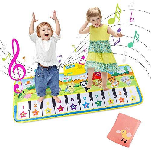 Jooheli Piano Mat, Tanzmatten Klaviermatte mit Aufbewahrungstasche Kinder Spielzeug Musik Matte, 8 Tierstimmen Klaviertastatur für Kleinkind Jungen und Mädchen Geschenke,Weihnachten100 * 36 cm