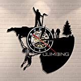 LED-Reloj de pared para decoración del hogar de escalada en roca de montaña, diseño de escalada extrema en roca, reloj con disco de vinilo, regalo deportivo, senderismo, escalada en roca, pareja