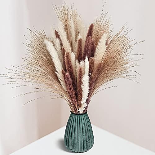 """60Pcs Natural Dried Pampas Grass - 20 Pcs Cream White Pampas & 20 Pcs Brown Pampass & 20 Pcs Reed Grass 17.5"""" Fluffy Stems Dry Pompous Bouquets for Home Decor Wedding Boho Flower Arrangement"""