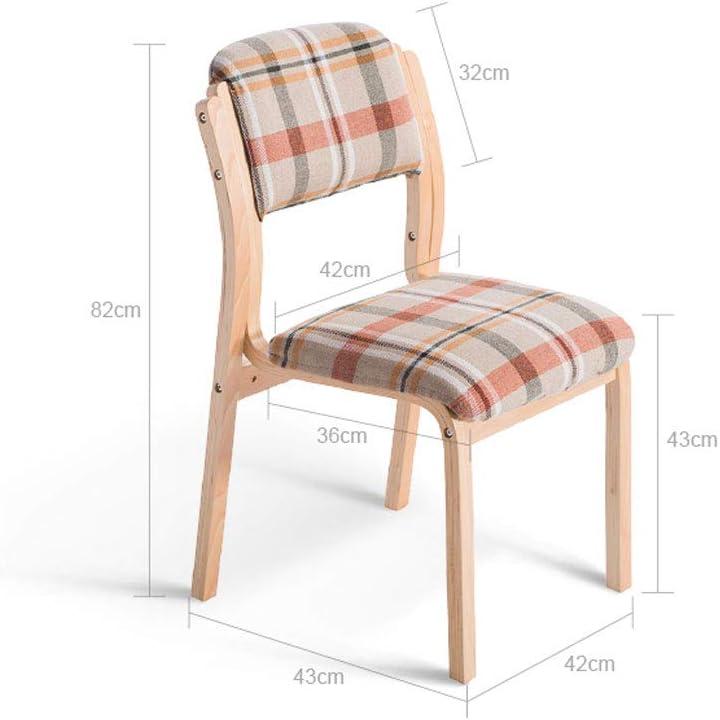 WDX- Chaise en bois massif de café de tissu de chaise de salle à manger de chaise de bureau arrière de sac à sac souple d'hôtel simple mode (Color : D) D
