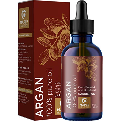 Maple Holistics Pure Moroccan Argan Oil for Face Body and Hair Cold Pressed Therapeutic Deep Moisturizer Conditioner Treatment to Repair Dry and Damaged Hair and Hydrate Dry Skin for Natural Anti Aging Skin Care, 2oz