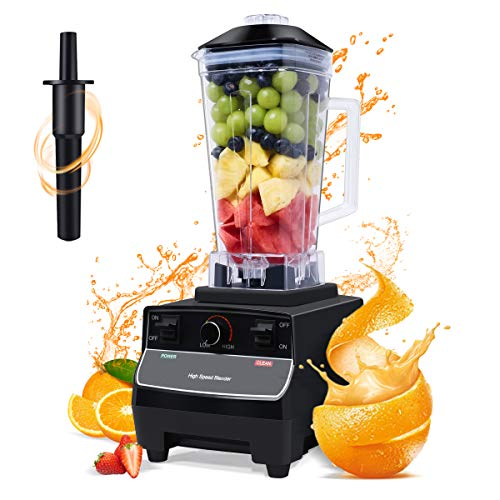 HMJY Blender Smoothie Machine, 2200W High Power Blender, 2L BPA-Free Tritan Large Capacity Commercial Blender, 33,000 RPM High Speed 6 Blades,Black