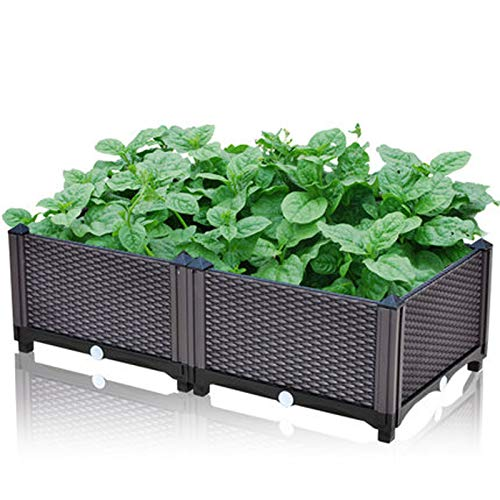 Xin Hai Yuan Vegetables Plant Raised Bed Kits, Elevated Raised Garden Bed Planter Box for Flowers Vegetables Fruits Herbs, Outdoor Indoor Planting Box Container for Garden Patio Balcony Restaurant,M