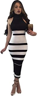 Maketina Womens High Neck Sleeveless Stripe Casual Long Bodycon Bandage Dress Black L
