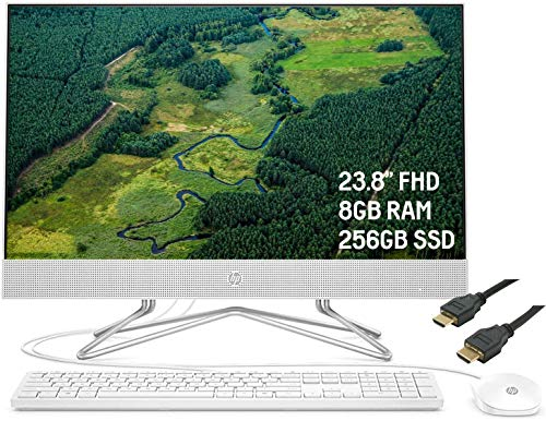"2020 Premium HP 24 All-in-One Desktop Computer 23.8"" FHD WLED Anti-Glare Display AMD Athlon Silver 3050U Processor 8GB RAM 256GB SSD Pop-Up Webcam DVD-Writer HDMI WiFi Win 10 + iCarpHDMI"