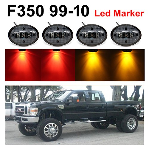 TMH Pack of 4 Smoked Lens 2 Amber + 2 Red LED Fender Bed Side Marker Lights...
