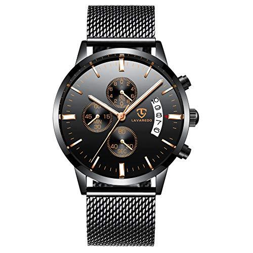 Watch Mens Watches Business Stainless Steel Waterproof Multifunction Calendar Mesh Band Watch...