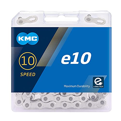 "KMC Unisex– Erwachsene e10 EPT E-Bike 10-Fach Kette 1/2"" x11/128, 136 Glieder, Silber"