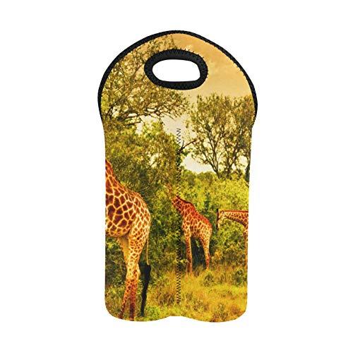 Imagen de la bolsa de vino navideña Jirafas sudafricanas Gran familia Bolsa para botellas de vino Portabotellas doble Portadores y bolsas de vino Porta botellas de neopreno grueso para 2 bot