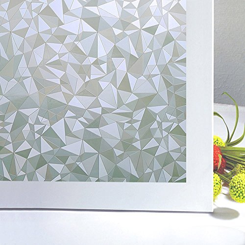 Bloss Privacy Window Film,3D Diamond Decorative Windows Cling Stained Glass Film For Home Anti UV 17.7