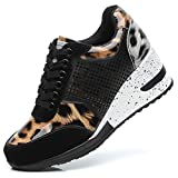 Viscozzy Leopard Heel Wedge Sneakers for Women - Lace Up High Heel Shoes BW001-CAMEL-9