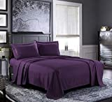 PURE BEDDING Bed Sheets - Queen Sheet Set [6-Piece, Purple] - Hotel Luxury 1800 Brushed Microfiber - Soft and Breathable - Deep Pocket Fitted Sheet, Flat Sheet, Pillow Cases