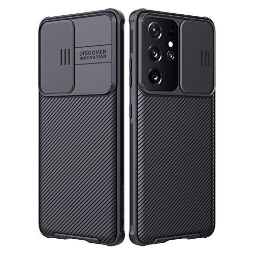 Nillkin Custodia per Samsung Galaxy S21 Ultra, CamShield [Protezione Fotocamera] Bumper Protettiva Ultra Sottile Leggero Custodia Anti Graffio Hard PC Case Back Cover per Galaxy S21 Ultra (Nero)