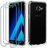 ivoler Funda para Samsung Galaxy A5 2017 + [3 Unidades] Cristal Vidrio Templado Protector de Pantalla, Ultra Fina Silicona Transparente TPU Carcasa Protector Airbag Anti-Choque Anti-arañazos Caso