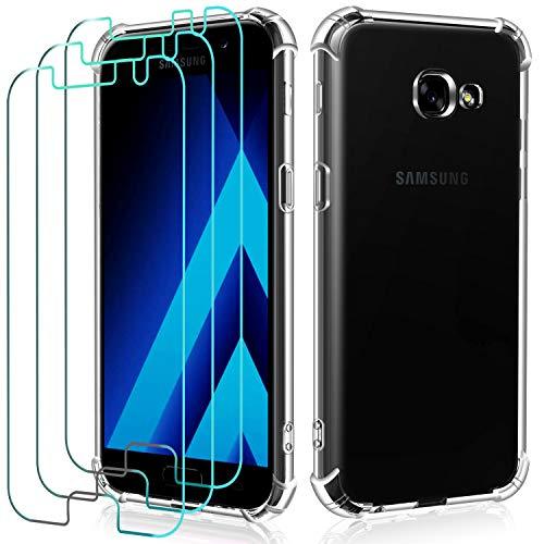 iVoler Custodia Cover per Samsung Galaxy A5 2017 + 3 Pezzi Pellicola Protettiva in Vetro Temperato, Ultra Sottile Morbido TPU Trasparente Silicone Antiurto Protettiva Cover Case
