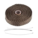 Envoltura de tubo, envoltura térmica de escape de cinta aislante para automóvil de 5 m con 4 bridas de acero inoxidable(marrón)