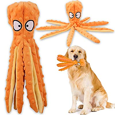 Squeaky Dog Interactive Play Toy,No Stuffing Octopus Dog Chew Toy with Crinkle Paper for Medium and Large Dog Playing (Orange)