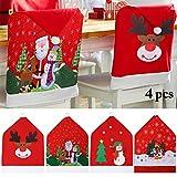 JUSTDOLIFE Cubierta de la Silla de Navidad, Rojo Fundas para sillas de Navidad Juego de 4...