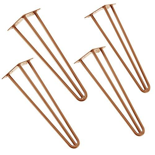 [en.casa] Robuste Hairpin Leg Tischbeine im 4er Set aus Stahl - kupferfarben - 45 cm - 3 Streben