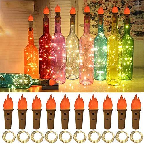Lukasa - Luz LED para botellas, 10 unidades, 2 m, con 20 luces LED, alambre de cobre, luces para botella de vino, cadena de luces para fiestas, Navidad, bodas, cumpleaños
