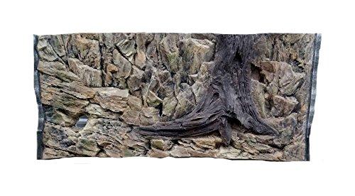 Aqua Maniac Fondo de acuario 3D, diseño de roca y raíz con ventilación, polirresina (no espuma), 4 – 6 cm de grosor, decoración acuática única