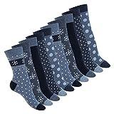 Celodoro Damen Süße Eco Socken (10 Paar), Motiv Socken aus regenerativer Baumwolle - Navy Blue 39-42