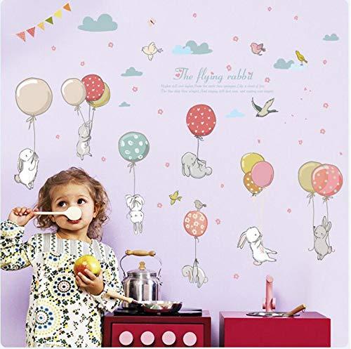 Sticker konijn cartoon luchtballon, decoratieve muursticker voor kinderen, kleuterschool, nestkast, achtergrond, 50 x 70 cm