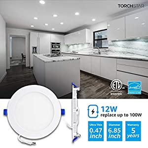 TORCHSTAR 6 Inch Slim Recessed Lighting with Junction Box, 12W 100W Eqv. 850lm Dimmable Wafer Light, ETL & Energy Star Certified, 5000K Daylight, Pack of 6