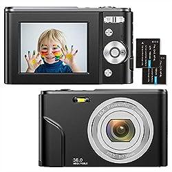 Fotocamere Digitali Compatte 1080P HD Macchina Fotografica 36 Mega Pixel 2,4 Pollici LCD Ricaricabile Vlogging Mini Video Fotocamer Digitale Zoom Digitale 16x, per Adulti, Anziani, Bambini(nero)