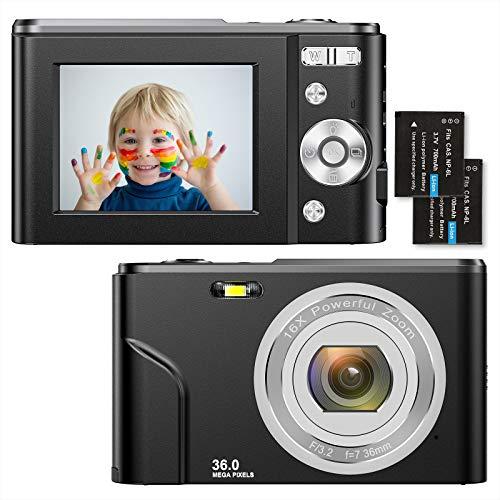 Compactas Cámaras Digitales 2,4 Pulgadas 1080P 36 Megapíxeles HD Camara Fotos Recargable Cámara para de Bolsillo Cámaras Digitales con Zoom 16X Camara Compacta,para Principiantes,Niño,Adulto(Negro)…