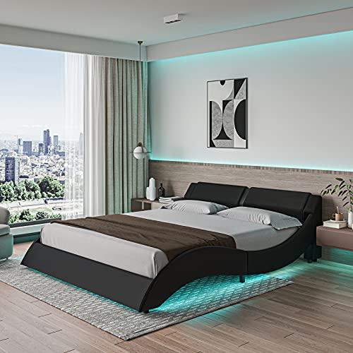 DICTAC Queen LED Bed Frame Modern Low Profile Upholstered Bed Frame with 16 Colors Adjustable LED Lights Wave Like Curve Platform Bed with headboard,Faux PU Leather,Solid Wooden Slats Support,Black