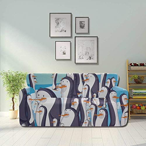 JIUCHUAN All-Inclusive-Sofabezug Waschbares 3-Sitzer-Bezugsofa 190-230 cm Penguins...