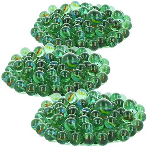 COM-FOUR® 303-delige set glazen marmer - glazen knikkers om te spelen en te verzamelen - klassieke spellen voor thuis en onderweg (303 stuks - knikkers)