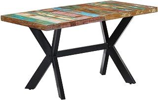 Festnight Table à Dîner Style Industriel Table de Salle à Manger 140x70x75 cm Bois de récupération Massif