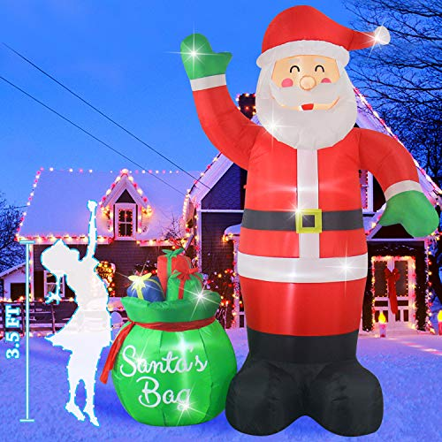 Fanshunlite Christmas Inflatable 8 Feet Santa Claus with Gift Bag Lighted Blow-Up Yard Party Decoration for Xmas Inflatable Outdoor Indoor Home Garden Family Prop Yard