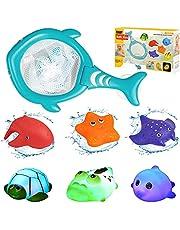 LEADSTAR 7 sztuk zabawek kąpielowych dla dzieci w wieku od 1 2 3 lat, zabawka do kąpieli dla niemowląt, zabawka wodna z efektem świetlnym LED, zabawka do kąpieli dla małych dzieci, chłopców i dziewczynek